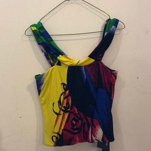 Versace multicolor jersey top.
